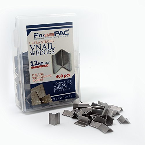 V Nails for Picture Framing - Ultra Strong - 12mm (1/2 Inch) Vnail Wedges for Joining Picture Frame Corners - Hardwood Frames [400 V Nail Pack, Loose] by FramePac