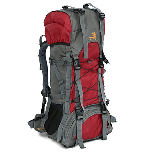 Free Knight 60L Internal Frame Backpack Hiking Travel Backpack Camping Rucksack 60L Extra Large (Red) (Best Internal Frame Backpack For Traveling)