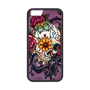 iPhone 6 4.7 Inch Cell Phone Case Black Sugar Skull Cover FQG Rubber Cell Phone Covers