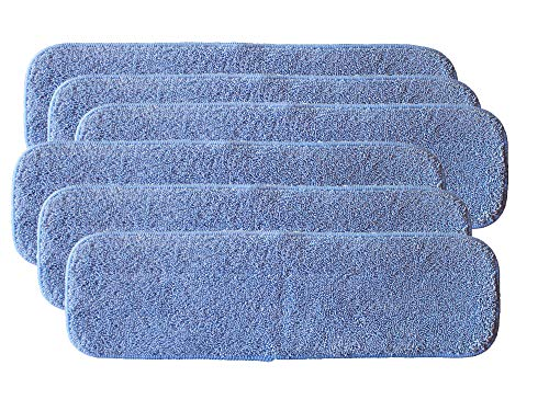 AI-Vacuum 6-Pack of 18 x5 Blue Microfiber Mop Pads for Bona, Ocedar, libman, Rubbermaid Velcro - Mop Frame 18