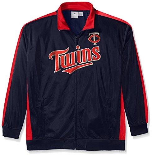 Minnesota Twins Mens Jackets - MLB Minnesota Twins Men's Tricot Poly Track Jacket, 4X, Navy/Red