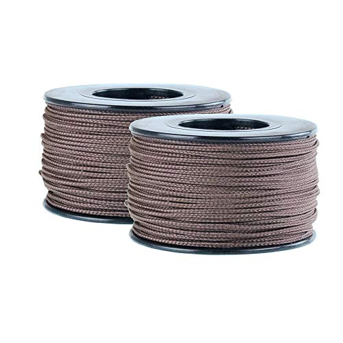 Micro Cord - 125 Foot Spool of 1.18 Millimeter 100 Pound Minimum Break Strength Paracord (2 Pack, Brown) ()