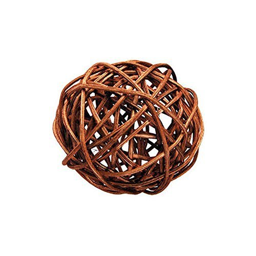 "Custom & Fancy {4"" Inch} Approx 90 Pieces of Large Round Ball ""Table"" Party Confetti Made of Premium Rattan w/ Chic Subtle Modern Natural Look Light Stick Twig Nest Scatter Filler Design [Brown]"