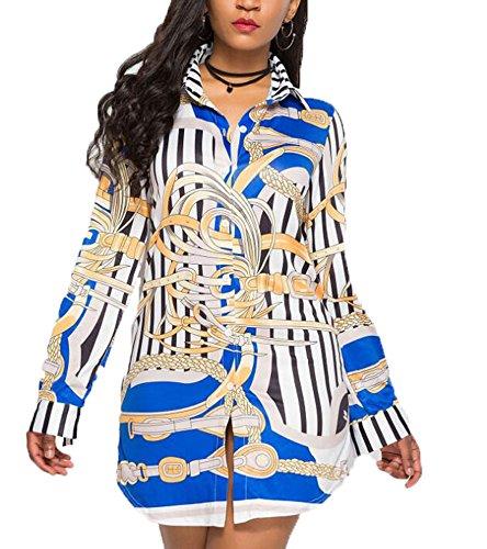 3XL Longues D Automne S Sexy Chemise Style Manches Chemise Impression Mode Nouvelles Keephen Femmes Casual irrgulire Ourlet qw66az