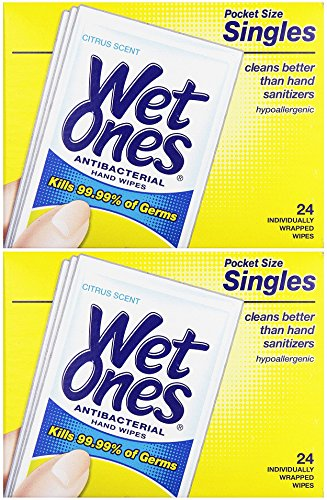 WET ONES Moist Towelette Antibacterial Citrus Singles 24 ea (Pack of 2)