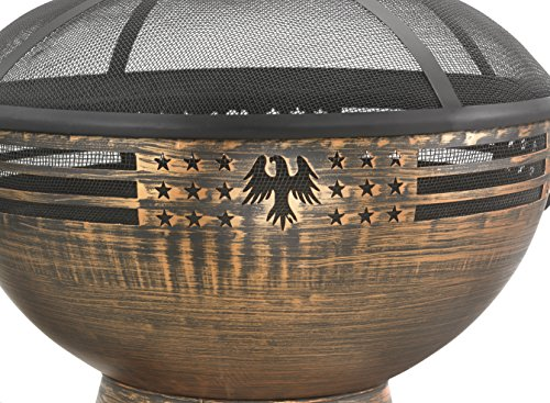 "Good Directions FB-5 Oversized Eagle Fire Bowl with Spark Screen, 26"" x 26"" - With its beautiful spherical form, Good Directions deep Copper finish extra large fire bowl Sets every outdoor gathering ablaze with a great ball of fiery excitement Oversized allows for a longer lasting fire Hand-hammered Steel with Copper finish - patio, outdoor-decor, fire-pits-outdoor-fireplaces - 516nSyAiVOL -"