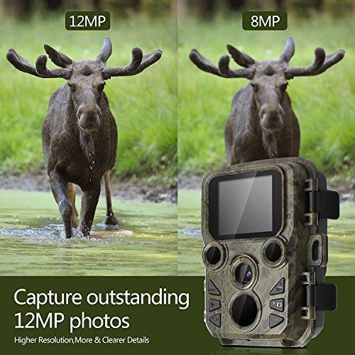 BYbrutek Mini Trail Cameras with Night Vision, 12MP 1080P HD Hunting Game Camera, 0.45S Motion Activated Wildlife Cameras, 2 PCS 850nm IR LEDs Range up to 65ft, IP56 Waterproof