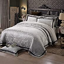 W&P Black and gray Queen King size bedding luxury silk cotton blend duvet cover , queen