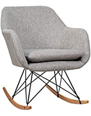Giantex Accent Rocking Chair with Cushion, Upholstered Rocking Arm Chair w/Solid Steel Wood Leg, Modern Rocker Chair for Balcony, Bedroom (1, Grey)