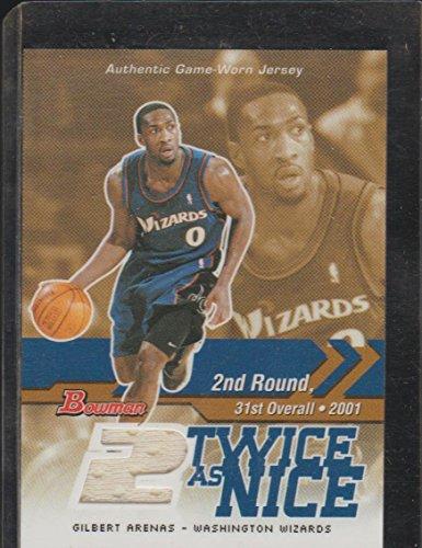 (2004 Bowman Gilbert Arenas Wizards Game Used Jersey Basketball Card #TN-GA)