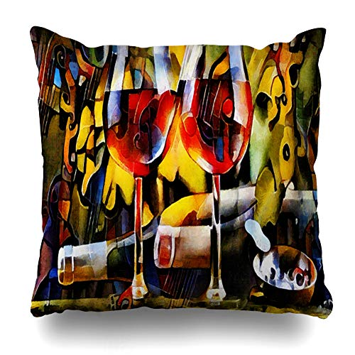 Ahawoso Decorative Throw Pillow Cover Exclusive Wine Cubism Bottles Easy Glasses Food Drink Watercolor Creative Home Decor Pillowcase Square Size 20