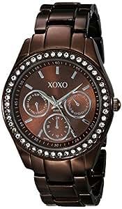 XOXO Women's Rhinestone Accent Chocolate Analog Watch Brown XO5458
