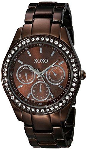 XOXO Women 's xo5458Rhinestone acento café Chocolate reloj analógico
