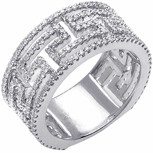 1.10ct TDW White Diamonds Platinum Designer Women's Wedding Band (G-H, SI1-SI2) (9.5mm) Size-8c4