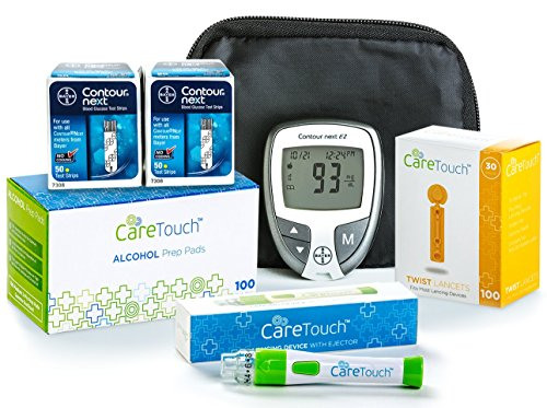 tour Next Diabetes Testing Kit - Bayer Contour Next EZ Meter, 100 Bayer Contour Next Test Strips, 100 Alcohol Wipes, Lancets and Lancing Device ()
