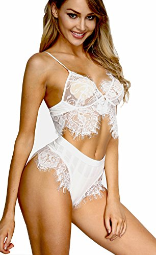 (The Victory of Cupid Women Lace Bra and Panty Set Bralette Babydoll Bodysuit Two Piece Sets (M, whtie-2))