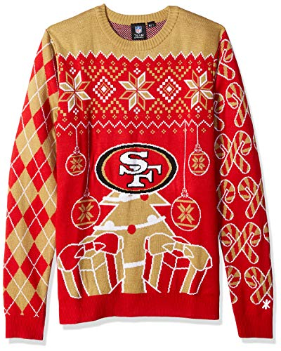 FOCO SWTNFSMUUGYHOL NFL San Francisco 49Ers Mens Holiday Ugly Christmas Tree & Ornament Sweaterholiday Ugly Christmas Tree & Ornament Sweater, Team Color, Large (49ers Francisco Tree Sports San)