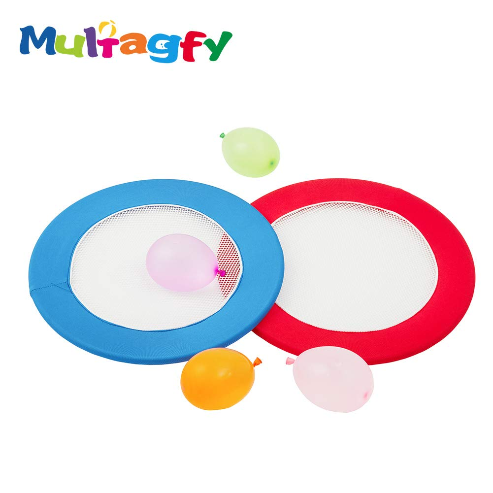 MULTAGFY Water Balloon Bouncer Trampoline Ball Game with 50 Water Balloons and 2 Trampoline Paddles Flying Discs for Outdoor Family Camping Game Leisure Sports