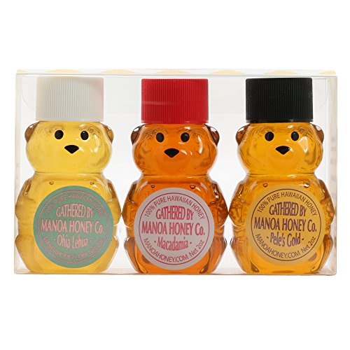 Manoa Honey Bears Gift Set with Ohia, Macadamia Nut and Pele's Gold Honey
