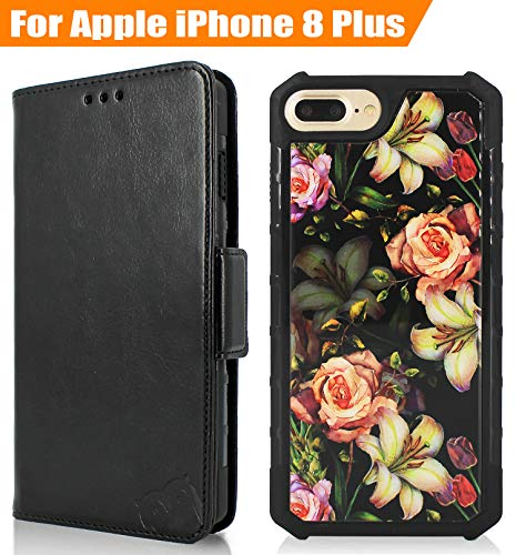 Magnetic Detachable 2 in 1 Wallet Case Compatible with iPhone 7 Plus/iPhone 8 Plus, PU Leather Wallet Folio & Removable Air Cushion Case with Floral Pattern Tempered Glass Cover - Black/Flower