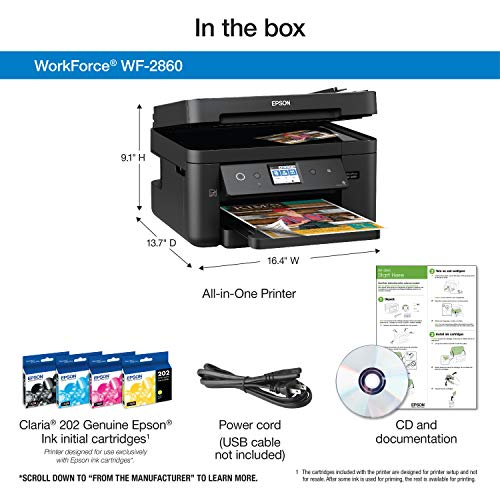 Epson Workforce WF-2860 Wireless Scanner, Copier, Fax, Ethernet, Amazon Dash Replenishment Enabled