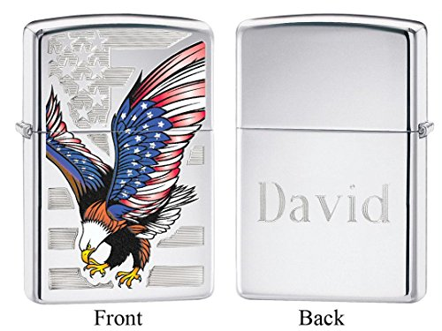 Personalized Zippo Eagle Flag High Polish Chrome Lighter with Free Engraving (Eagle High Polish)