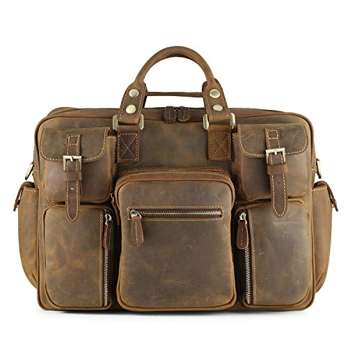 Kattee Men's Crazy-horse Leather Briefcase Luggage Handbag Shoulder Bag, Fit 16.5'' Laptop by Kattee