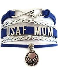 USAF bracelet, Air Force bracelet, love infinity bracelet, leather bracelet