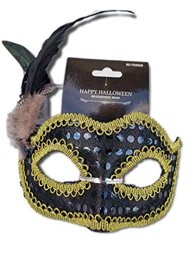 Black Sequined Masquerade Mask w/Iridescent Black/Green Feathers and Black Braid Trim; Party, Costume Ball, New Years Eve, Mardi Gras, Halloween, Harlequin Mask ()