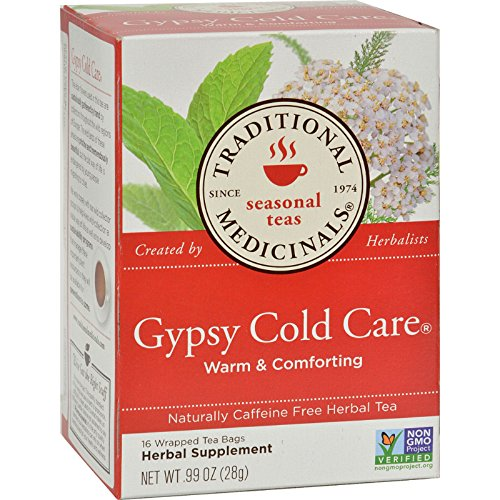 Care Gypsy Cold (Traditional Medicinals Gypsy Cold Care Herbal Tea - Caffeine Free - 16 Bags - Non GMO - Warm and Comforting)