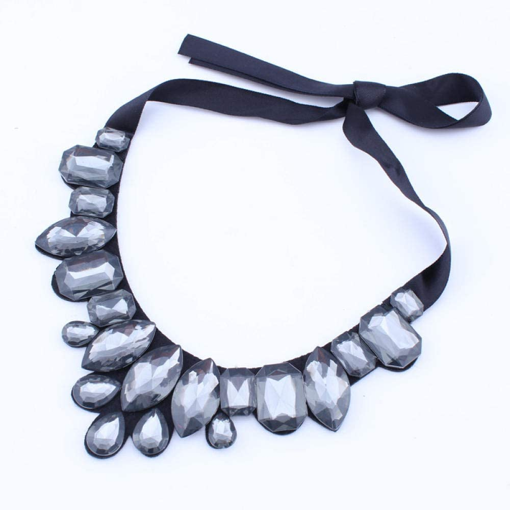TTDAltd Collar Bohemia Estilo Negro Cinta Geométrica Gota De Agua Grande Brillante Piedra Preciosa Collar De Diamantes De Imitación Damas Colgante