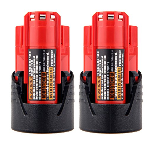 0200 12 Volt Battery (2Packs 12v 2.0Ah Replacement Battery Pack for Milwaukee M12 Cordless Tools 48-11-0140, 48-11-0141, 48-11-0200, 48-11-0251, Ni-CD-Red)