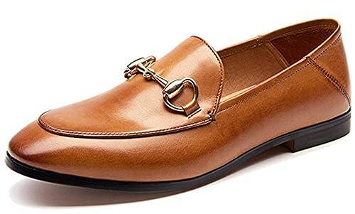 SimpleC Horsebit Plano Ponerse de Cuero Mocasines Mules para Mujeres: Amazon.es: Zapatos y complementos