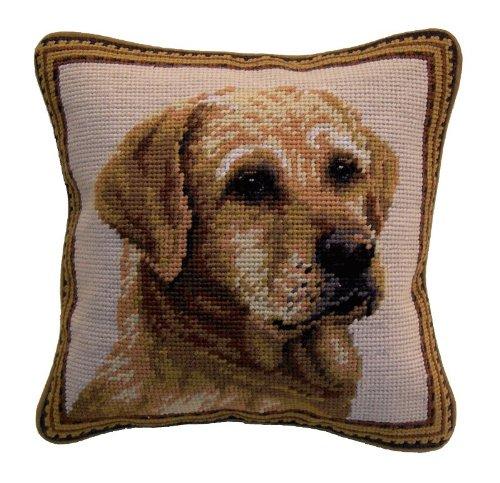 (Standing Yellow Labrador Retriever Lab Dog Needlepoint Throw Pillow - 10