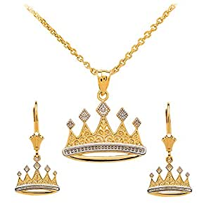 """Royal 14k Two-Tone Gold Crown Charm Pendant Necklace and Earring Set, 16"""""""