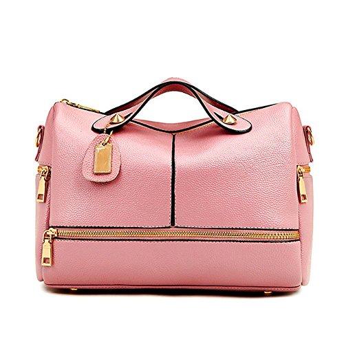 FLANCO New Womens Fashion Wild Boston Bag Soft Leather Handbag Shoulder Messenger - Belt Boston Genuine