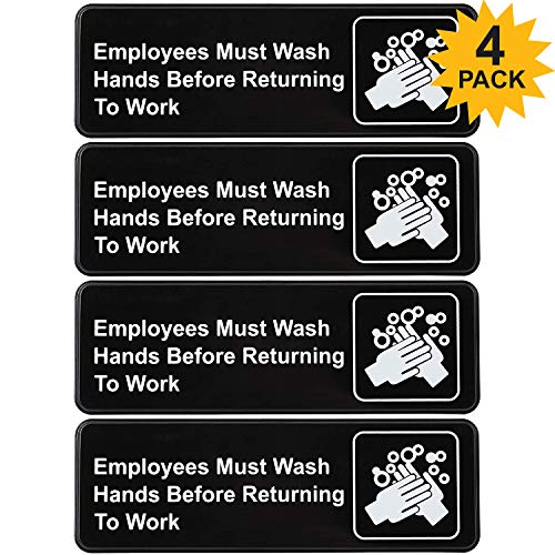 """Employees Must Wash Hands Before Returning to Work Sign: Easy Mount Plastic Safety Informative Sign Great for Business, 9""""x3"""", Pack of 4"""
