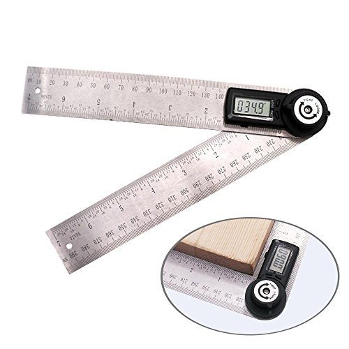 KOBWA Digital Angle Ruler with LCD Display Angle Finder Protractor Gauge Ruler 200mm Measure Tools by KOBWA