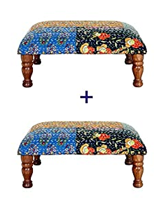Theshopy Diwali Special Combo Offer Wooden Stool with Upholstery 1+1 Free 12x12x6 inch #A628C