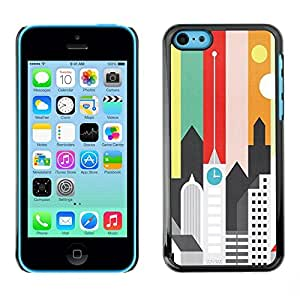 FECELL CITY // Duro Aluminio Pegatina PC Caso decorativo Funda Carcasa de Protección para Apple Iphone 5C // Artistic Minimalist Architecture Colors
