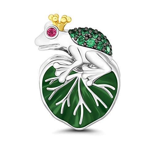 GNOCE Women's Charms for Bracelets Pendant for Women 925 Sterling Silver Charm Swarovski Dangle For European Bracelets (Frog Prince)