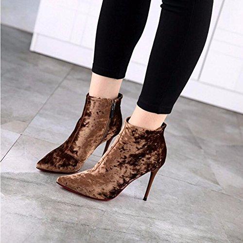 Gtvernh-nouvelles Bottes D'hiver Sont Pointues En Velours 9.5cm Avec Une Chaussure Fine Simple. 37
