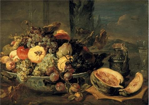 frans-snijders-still-life-of-fruit-oil-painting-16x23-inch-41x58-cm-printed-on-perfect-effect-canvas