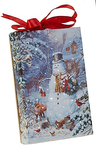 RAZ Imports Snowman LED Canvas Print/Ornament - Lighted Picture of Snowman Surrounded by Forest Friends,Multi-color - 4 x 6 x 1 inch with Timer and On/Off Switch by RAZ Imports