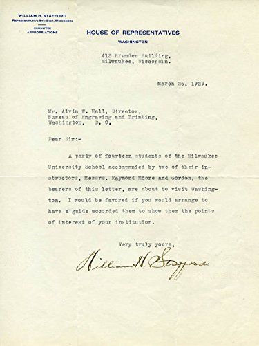William H. Stafford Typed Letter Signed 03/26/1929