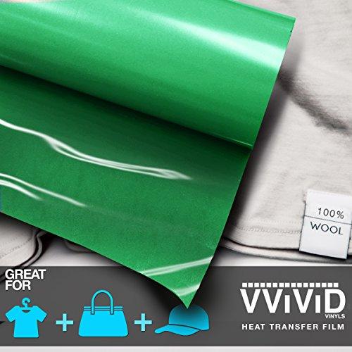 VViViD Green Heavy-Duty Iron-On Heat Transfer Vinyl Film 12 Inches x 3 Feet (36 Inches)
