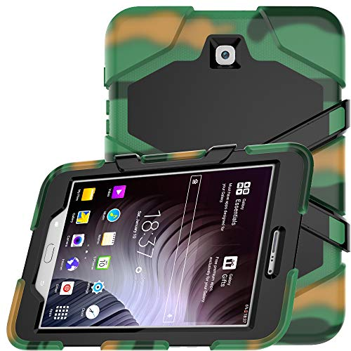 (Galaxy Tab S2 9.7 Case, Hybrid Three Layer Heavy Duty Armor Defender Shockproof Protective Cover with Built-in Screen Protector & Kickstand for Samsung Galaxy Tab S2 9.7 SM-T810 SM-T815 - Camouflage)