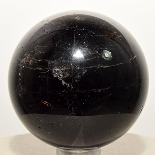 49mm Dark Smoky Quartz Sphere Sparkling Morion Natural Mineral Ball Black Smoky Quartz Crystal Polished Stone - China + Plastic Stand ()