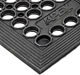 NoTrax T14 General Purpose Rubber Tek-Tough Jr Safety/Anti-fatigue Mat, for Wet or Work Areas, 3' Width x 5' Length x 1/2'' Thickness, Black