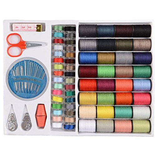 100pcs Assorted Colors Sewing Threads Sewing Kit Measure Scissor Thimble Needle Tape In Storage Box For Home Sew DIY by IFYOU